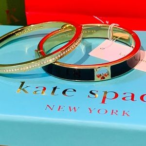 NWT Kate Spade black and gold diamond bangle set
